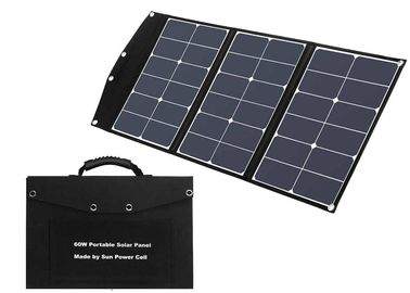 USB 3A Black 0.55 Inch Foldable Solar Panel For Camping